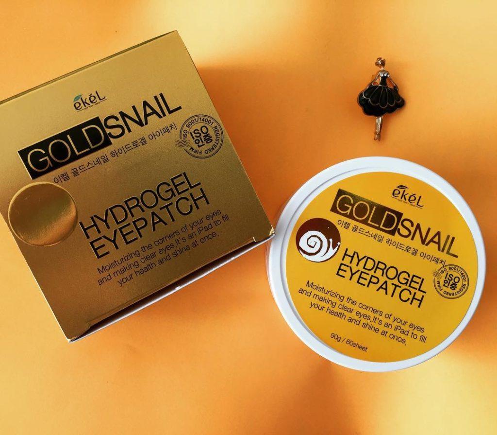 Ekel Gold Snail Hydrogel Eyepatch — Подтягивающие кожу гидрогелевые патчи вокруг глаз с улиткой и золотом 60 шт